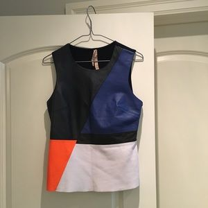 Anthropologie Bailey 44 Leather Panel Top